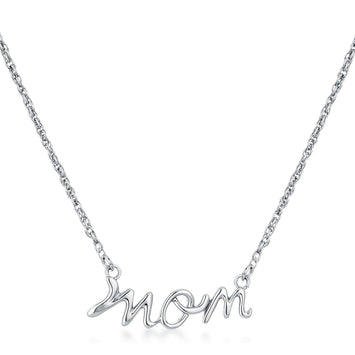 Rhodium Plated Mom Necklace
