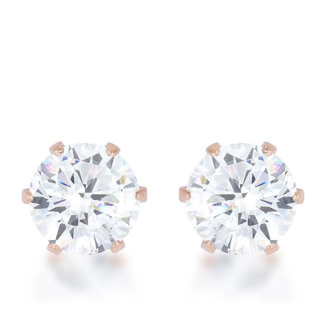 3.4ct CZ Rose Gold Stainless Steel Stud Earrings