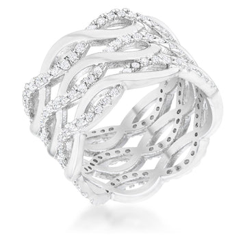 0.88ct CZ Rhodium Twist Wide Cocktail Ring