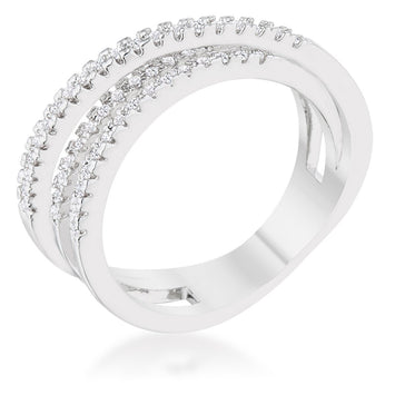 0.2ct CZ Rhodium Contemporary Trio Band Ring