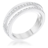 Rhodium Twisted Trio Band CZ Ring