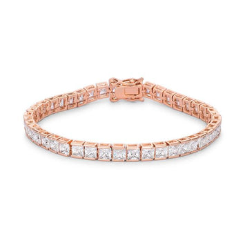 9.7Ct Princess Cut CZ Rose Gold Bracelet