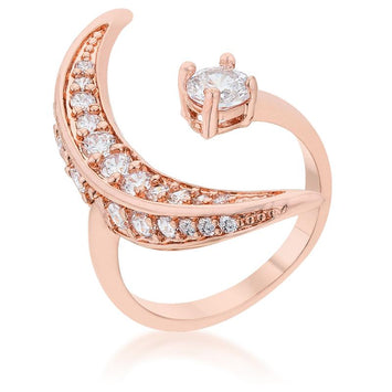 Luna Moon CZ Rose Gold Ring