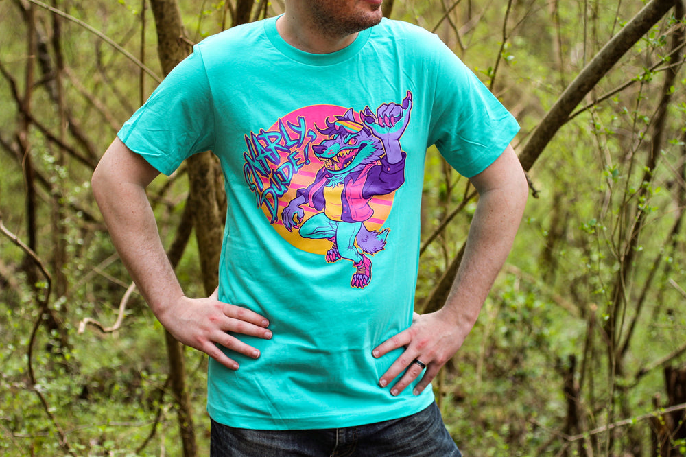 "Load image into Gallery viewer, Teal ""Snarly Dude!"" Tee Shirt"