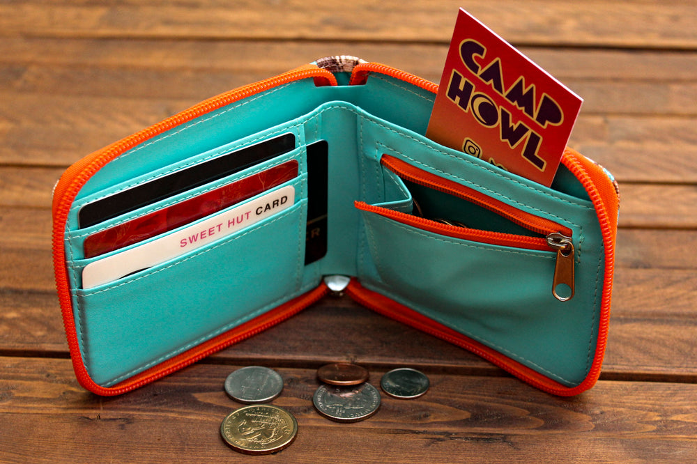 Load image into Gallery viewer, Fox Bifold Zipper Wallet