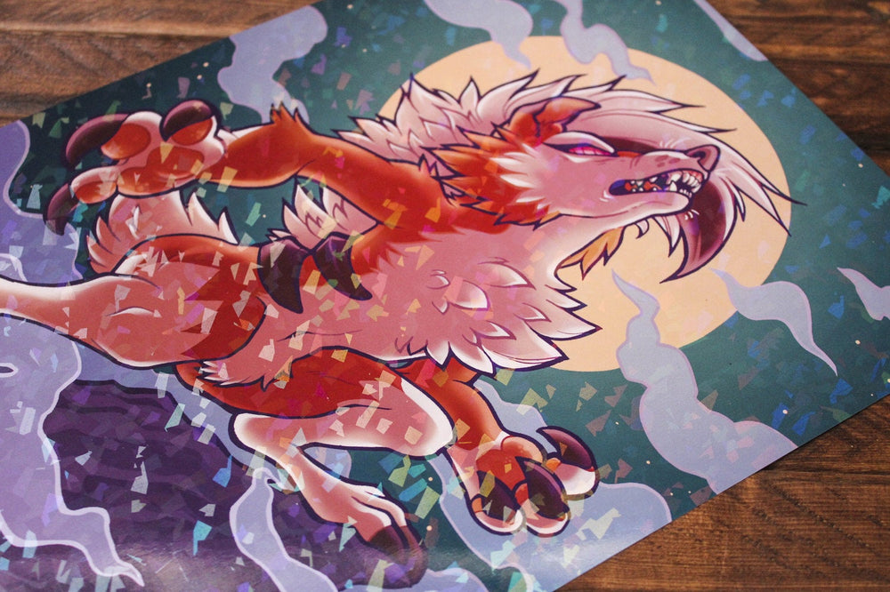 Load image into Gallery viewer, Sparkle Lycanroc A4 Print