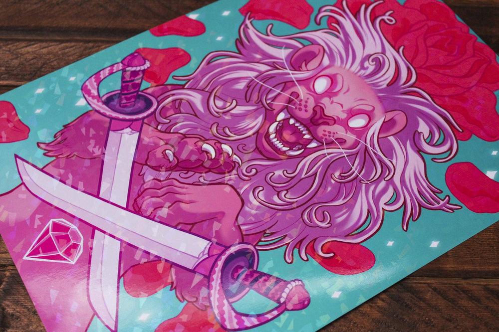 Load image into Gallery viewer, Sparkle Lion A4 Print