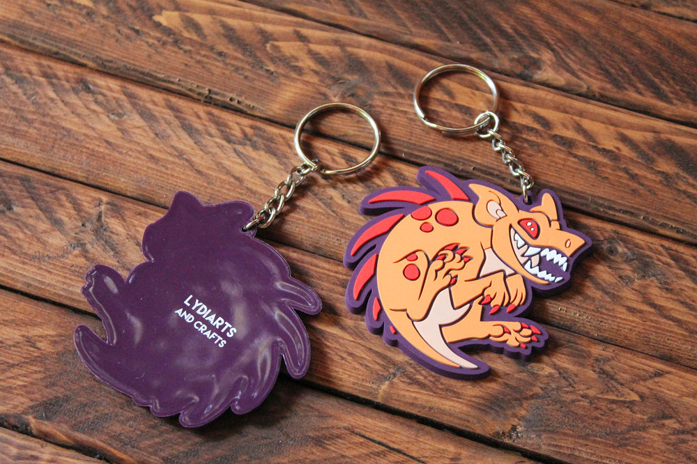 Load image into Gallery viewer, El Chupacabra Rubber Keychain