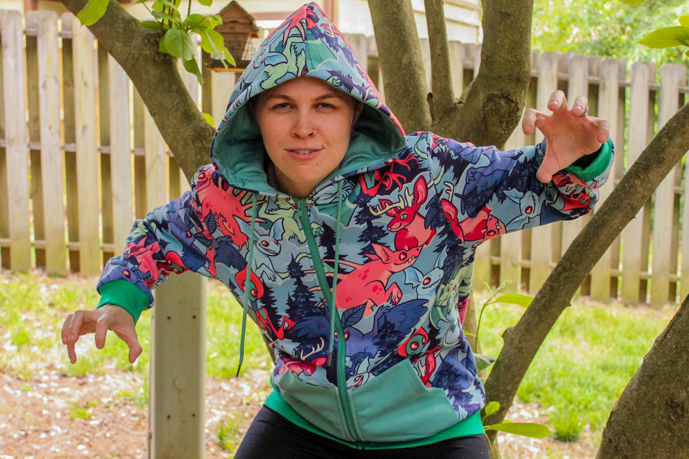 All Over Patterned Cryptozoology Hoodie