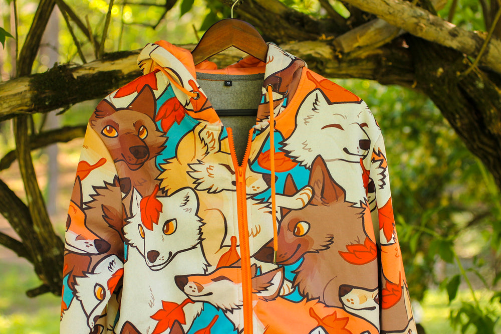 All Over Patterned Fox Hoodie