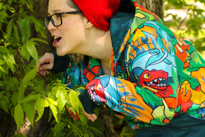 Load image into Gallery viewer, All Over Patterned Dinosaur Hoodie