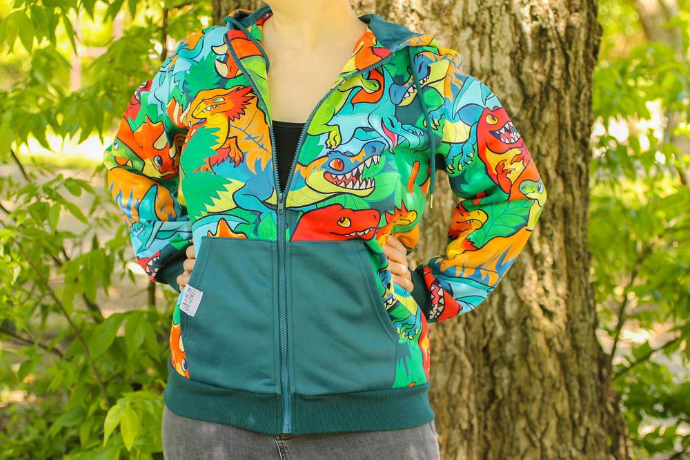 All Over Patterned Dinosaur Hoodie
