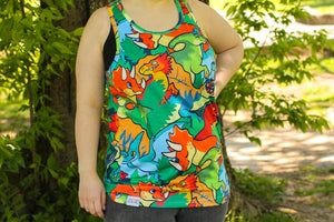 All Over Patterned Dinosaur Tank Top