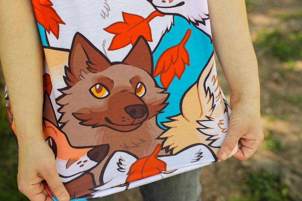 All Over Patterned Fox Tee Shirt