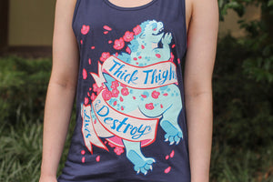 "Navy ""Thick Thighs Destroy Lives"" Tank Top"