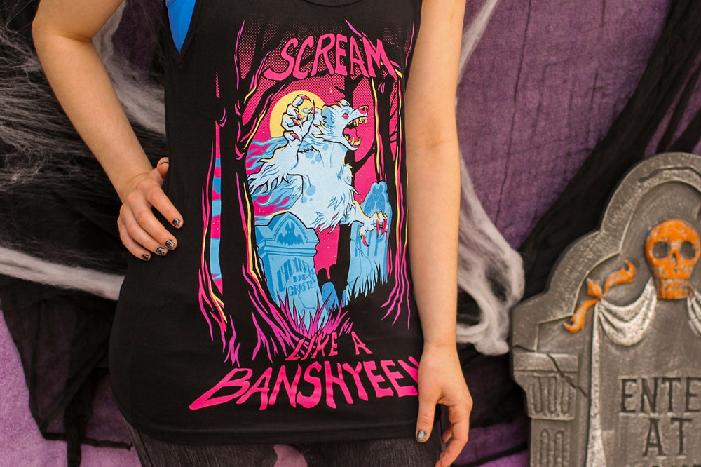 "Load image into Gallery viewer, Black ""Scream like a Banshyeen"" Tank Top"