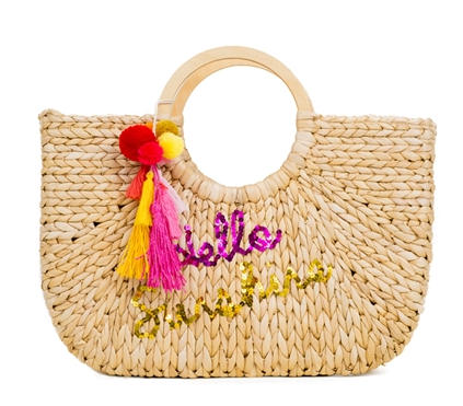 Hello Sunshine Beach Basket Tote