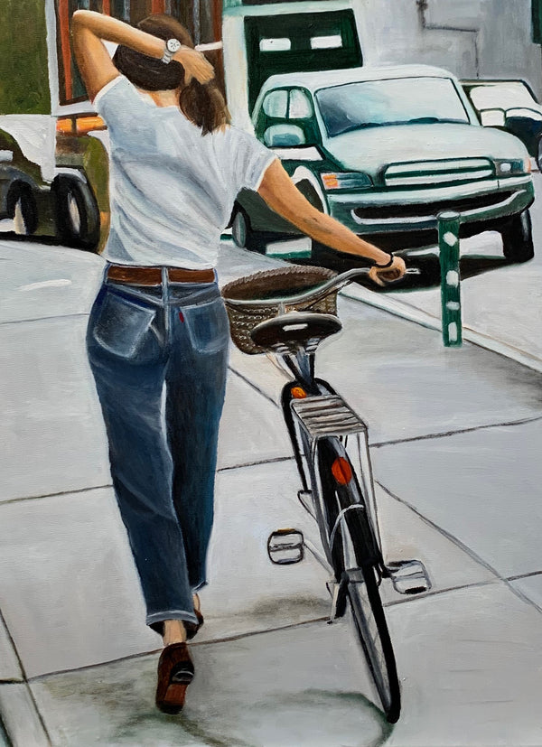 The girl with the bicycle