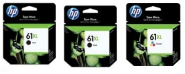 HP 61XL Color and 2 Black