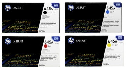 C973RNBW Discount rainbow pack of 4 Genuine OEM  Color High Yield HP 5550 Toners, Black Cyan Magenta Yellow