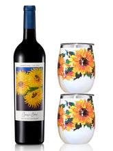 Load image into Gallery viewer, Quinny's Blend Sunflower Wine Tumbler Set - Donate to Fight ALS