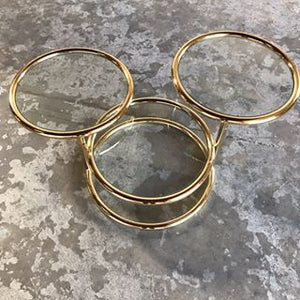 1970's Milo Baughman Style Brass Swivel Cocktail Table