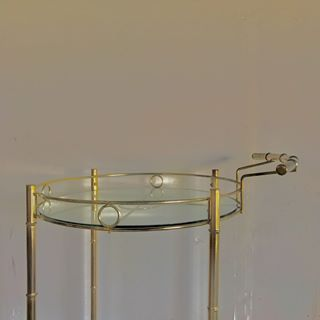 Vintage Brass Rolling Bar Cart Trolley