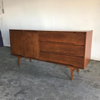 Mid Century Modern Walnut Credenza by Stanley Furniture
