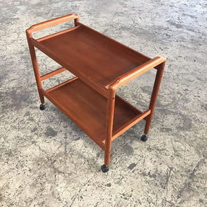 1970's Vintage Teak Bar Cart Trolley