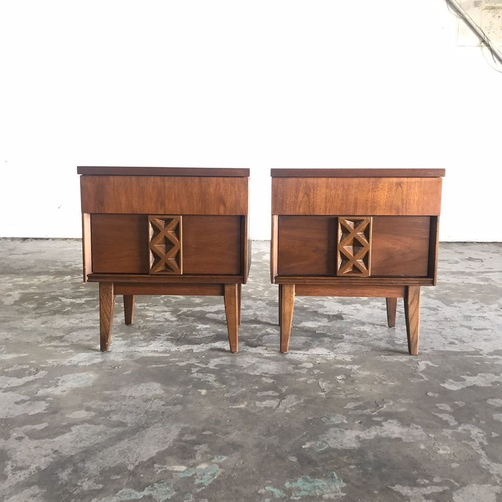 Mid Century Modern Walnut Bedside Tables by Redlicks Furniture - Pair