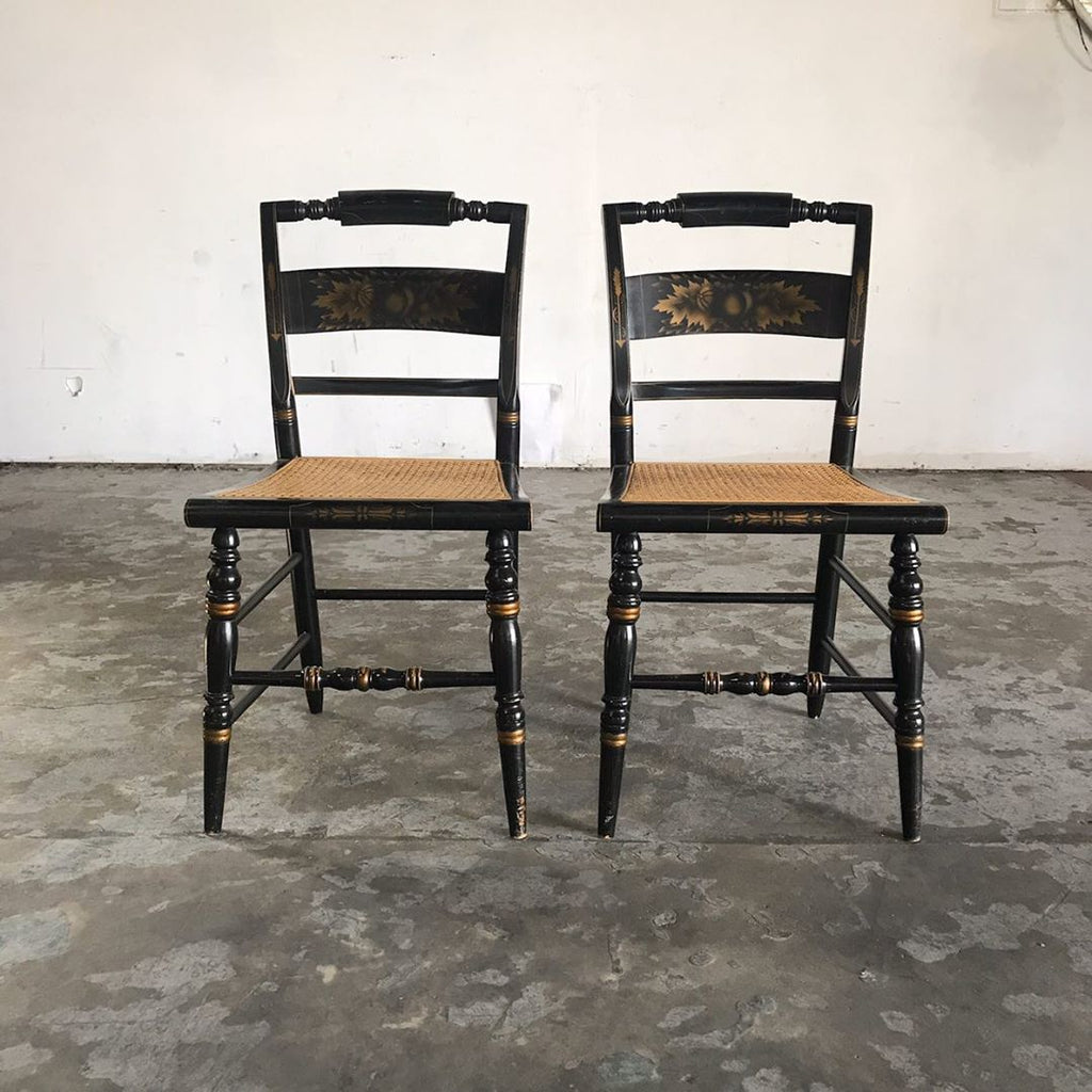 Vintage Black Stenciled Cane Chairs by Hitchcock - Pair