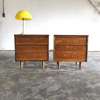 Mid Century Modern Bedside Tables Walnut by Dixie - Pair