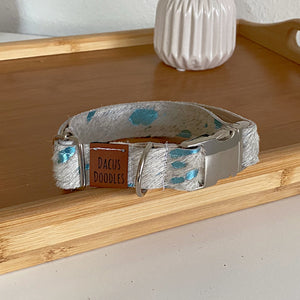 Teal Cowhide Collar