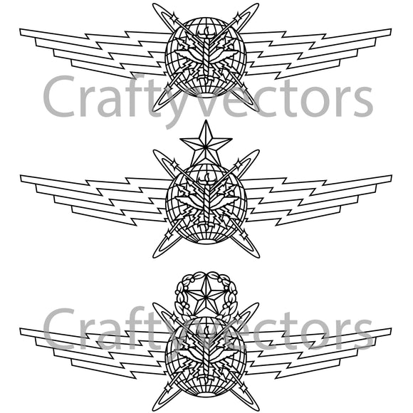 Air Force Cyberspace Operator Badge Vector File
