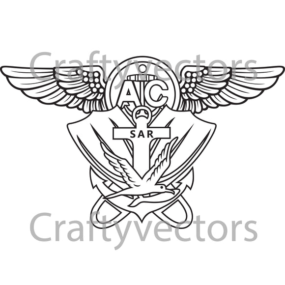Air Rescue Swimmer Badge Vector File