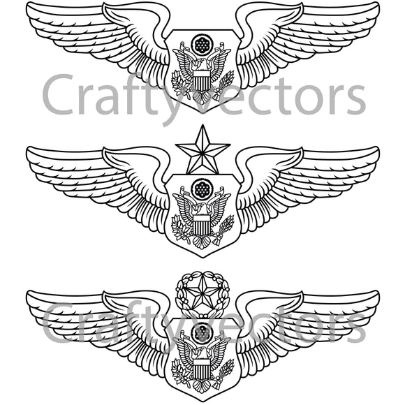 Air Force Officer Aircrew Badge Vector File