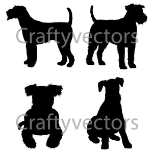 Airedale terrier Dog Silhouettes Vector