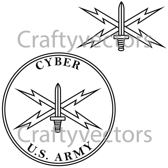 Army Cyber Corps Badge Vector File