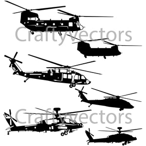 Military Helicopters Vector File