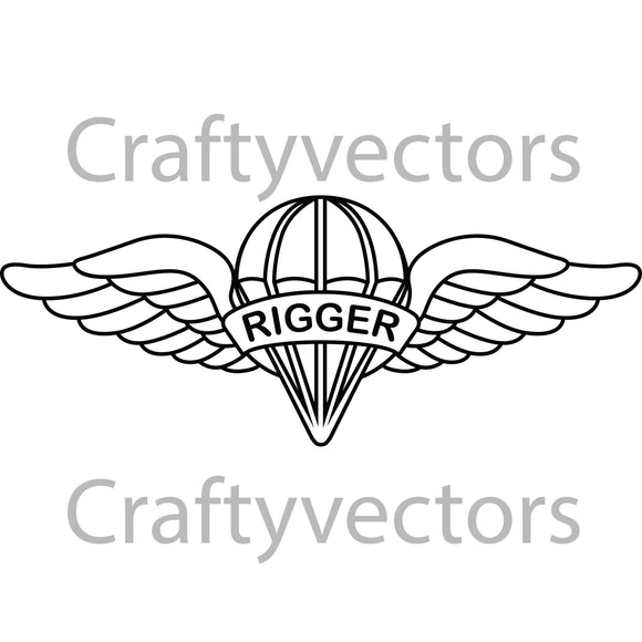 Army Parachute Rigger Badge Vector File