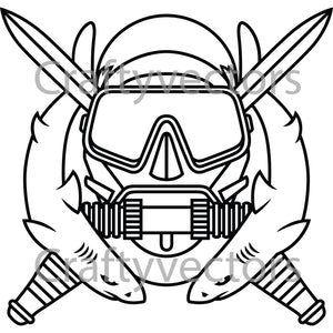 Army Special Operations Diver Badge Vector File