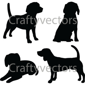 Beagle Dog Silhouettes Vector