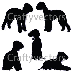 Bedlington Terrier Dog Silhouettes Vector