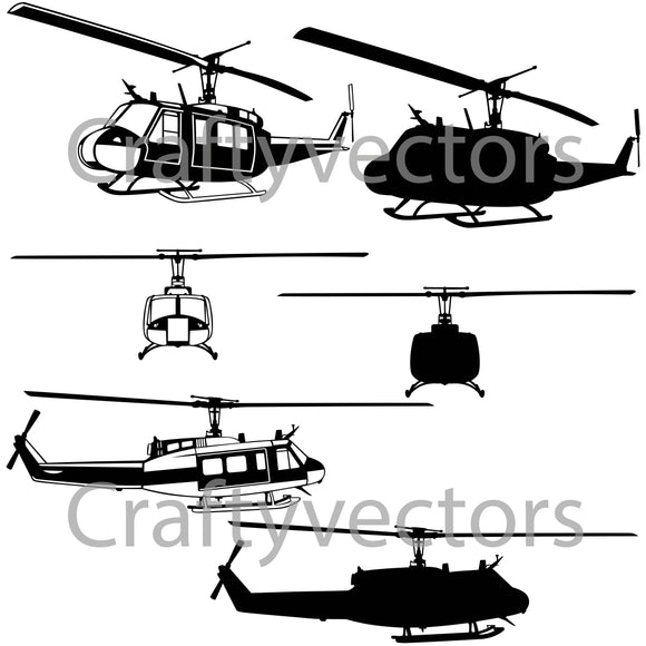 Bell UH-1 Iroquois 'Huey' Vector File