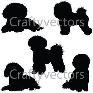 Bichon Frise Dog Silhouettes Vector