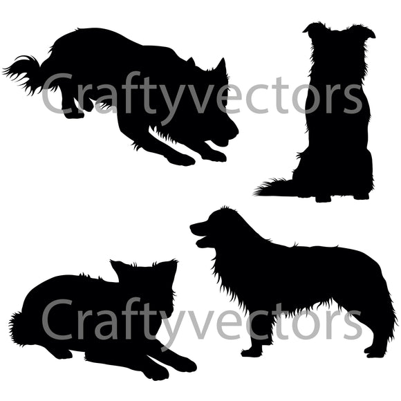 Border Collie Dog Silhouettes Vector