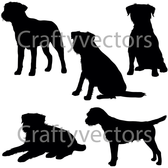 Border Terrier Dog Silhouettes Vector