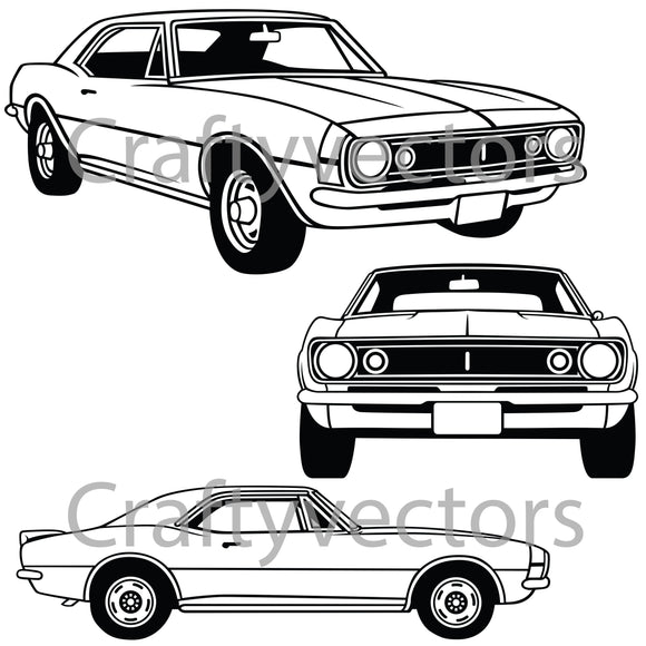 Chevrolet Camaro 1966 to 68 Vector
