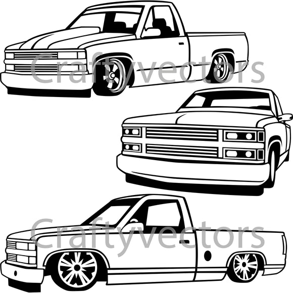 Chevrolet Lowered Truck Vector