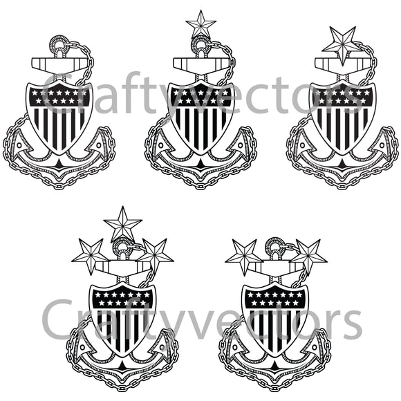 Coast Guard Chief Anchors Badge Vector File
